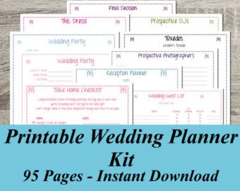 Ultimate Wedding Planner Over 75 Organizational Printables Binder Set Instant Kelly S Pinterest