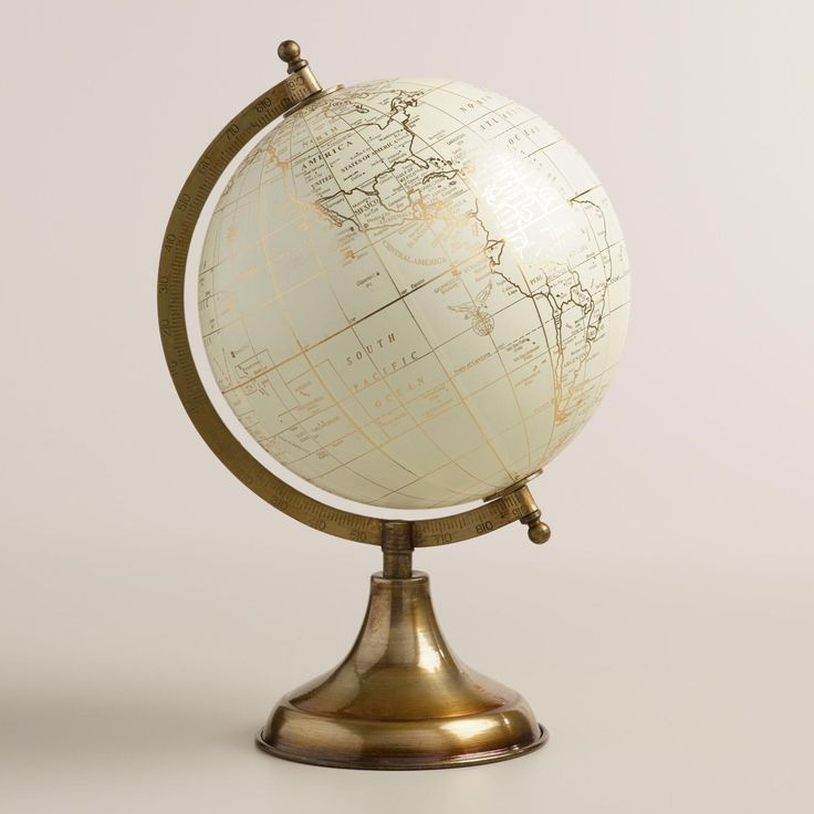Explore the world with our metallic-printed decorative globe on a gold metal stand. Great for an office, library or living room setting, it adds instant global appeal.