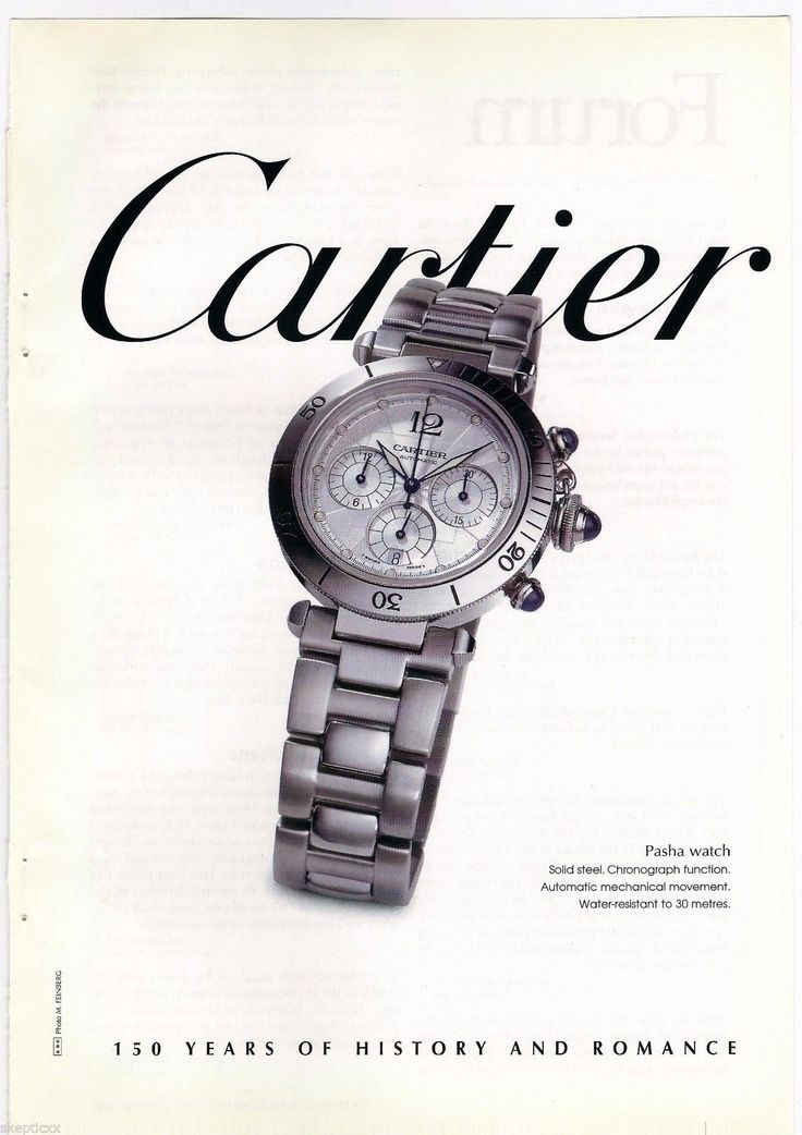1997 Cartier Pasha Watch Vintage Print Page Ad Photo. #cartier #pasha #geraldgenta #watch #ads #vintage #watches #stawc