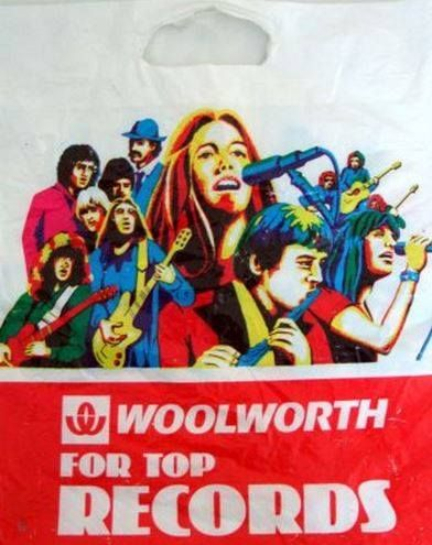 Woolworth's record bag: 1970s i loved getting  50p record token from my Aunts