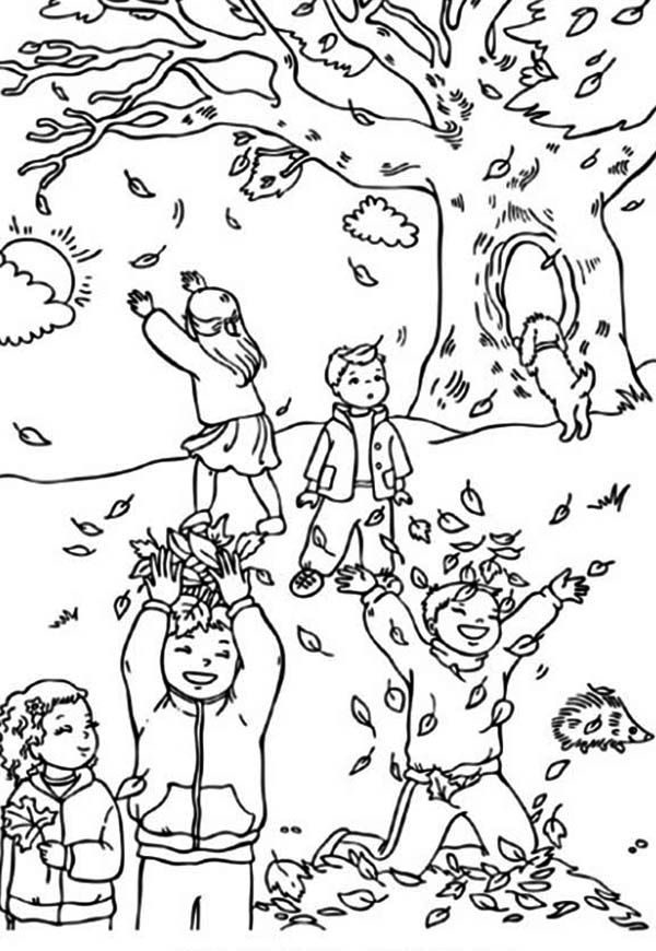 Autumn, : Boys and Girls Catching Autumn Leaf Coloring