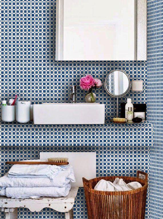 Mexican Dot To Dot Wallpaper In Indigo Blue Removable Vinyl Wallpaper Peel Stick No Glue No Mess In 2021 Tile Decals Vinyl Tile Floor Decal