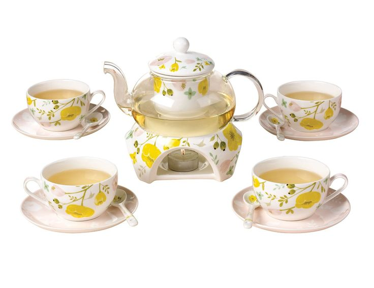 Jsaron China Porcelain Coffee Cups Set Fashion Design Yellow Flower Teacup Saucer