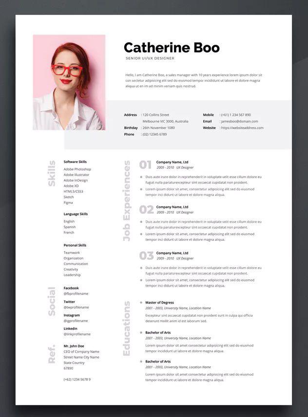 Resume Cv Template 05 By Boostock On Envato Elements Lebenslaufvorlage Bewerbung
