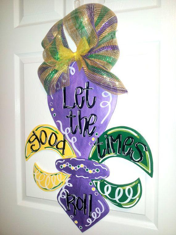 MARDI GRAS Fleur de Lis Wooden Door Hanger, Let the Good Times Roll, Fat Tuesday, Float Decorations, Door Signs, Door Decoration on Etsy, $25.00