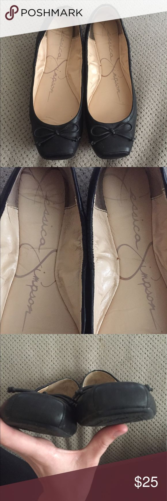 Jessica Simpson ballet flats Black leather square toe ballet flats in fantastic condition and super comfy! Used to wear these too work but am a stay at home mom now and they just sit in my closet. TONS of life left. Excellent used condition. Only wear is basic inside wear but outsides are perfect. Jessica Simpson Shoes Flats & Loafers