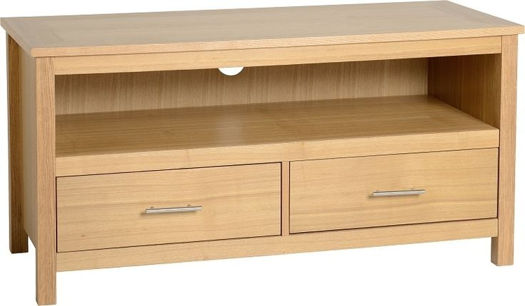 Simple Oak TV Unit with Drawers   Seconique Oakleigh 2 Drawer Flat Screen TV Unit in Natural Oak Veneer