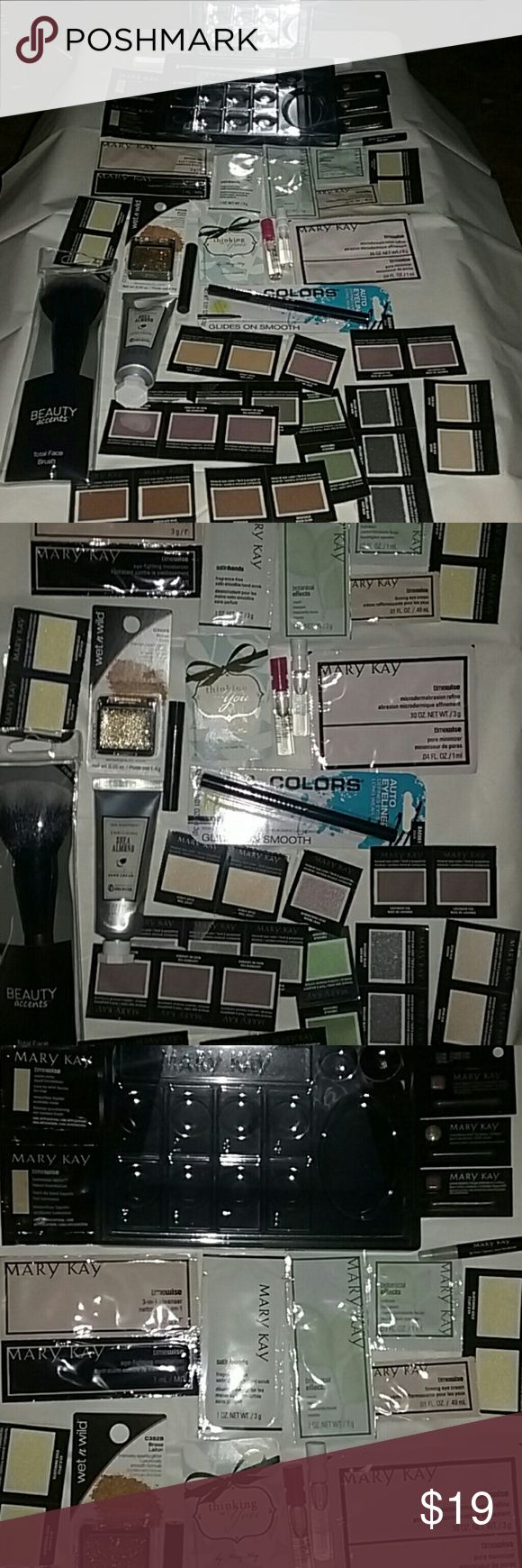 Make-up set *Mostly Mary Kay! Will be packaged cut Mary-Kay mirror compacts flat.Make-up tray.Timewise foundation 2 different colors, 3 lip gloss different colors, lip liner,timewise 3-in-1 cleanser 2 step,timewise microderm abrasion 2 step,satinhands hand scrub, botanical effects mask & cleanser,timewise firming eye cream,2 spray bottles perfume, perfume test card,black mascara, 12 different color eyeshadow total(26)Not Mary Kay-sparkly glitter for face,Shea almond hand cream, face…