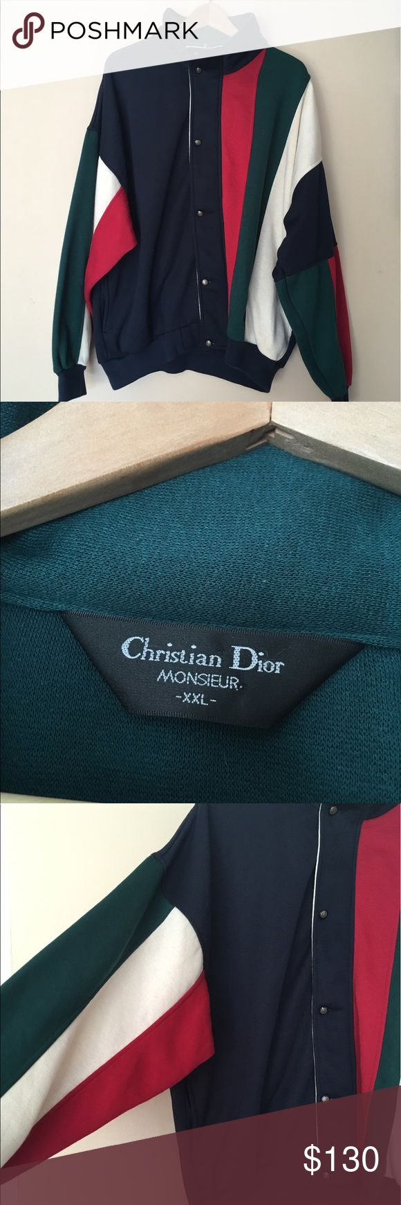 Vintage Christian Dior Zip Sweatshirt Colorblock Awesome condition vintage dior sweatshirt/jacket! Size XXL, but can fit oversized and worn open like a cardigan. Dior label on sleeve. Stunning Dior buttons and zipper pull. Navy, green, white and red colorblock pattern. Has a zipper and a button closure. Mock neck, no hood. Authentic! Christian Dior Jackets & Coats Bomber & Varsity