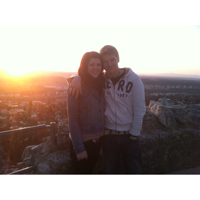 My Girlfriend and I on top of the ruins with the sun setting behind us in Dornach.