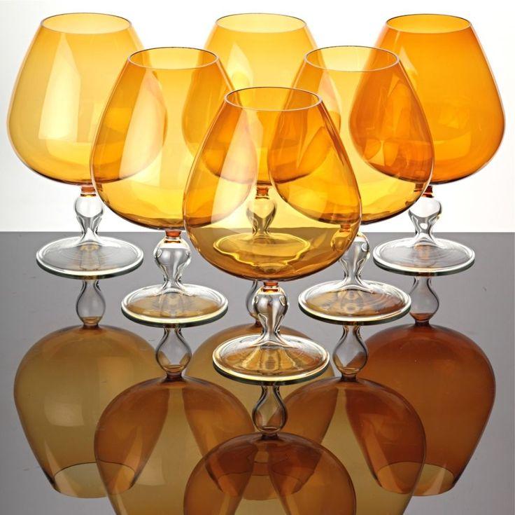 6 große Cogacgläser Cognacschwenker orange zartes Lampenglas leichte Gläser XL
