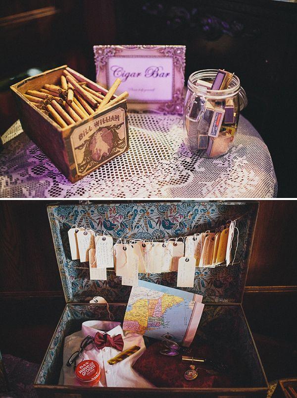 Cigar bar with vintage matchboxes