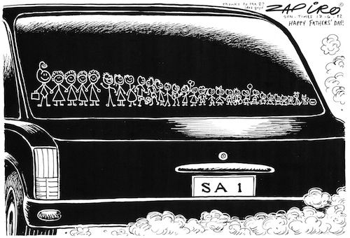 Zapiro: Happy Father's Day - South African Presidential Style