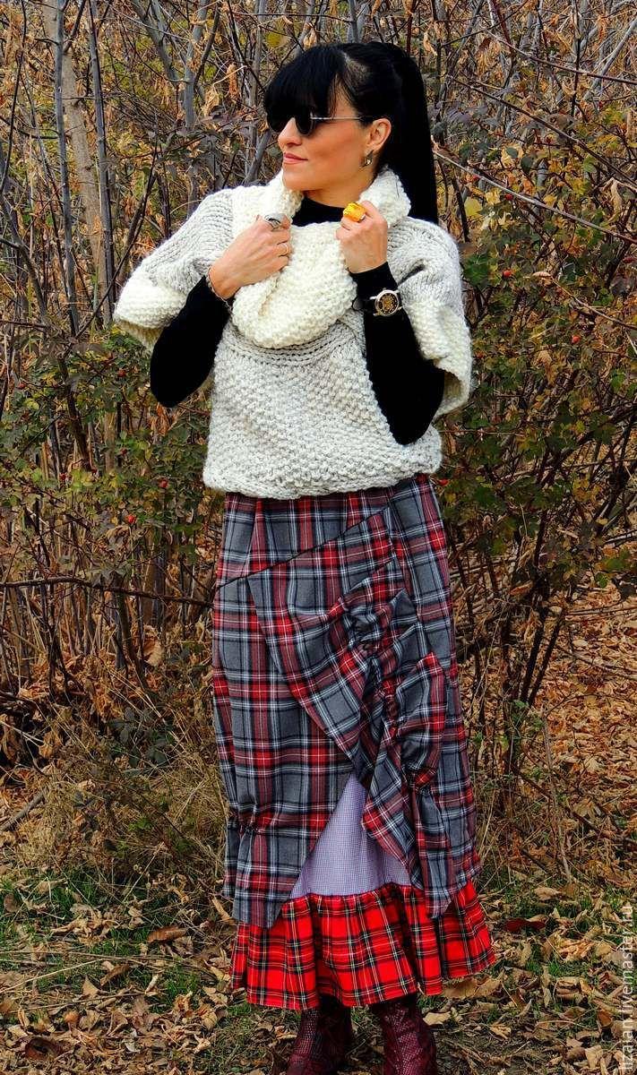 Купить Осенняя юбка макси в клетку - разноцветный, в клеточку, юбка осенняя, юбка макси