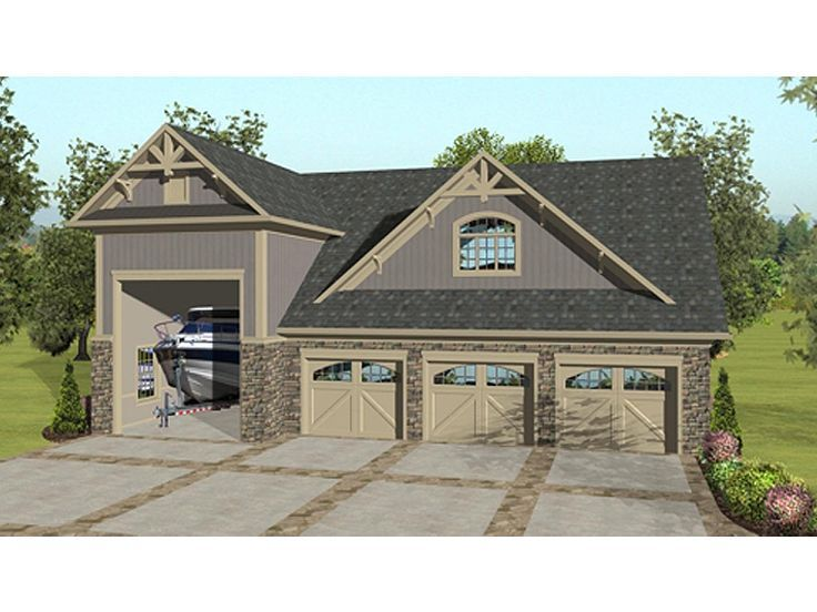 awesome house plans with 4 car attached garage #8: Definitely enough room for a lift. But needs modification upstairs. Garage  Apartment Plan, 007G-0018 | Future Home | Pinterest | Garage apartment plans,  ...