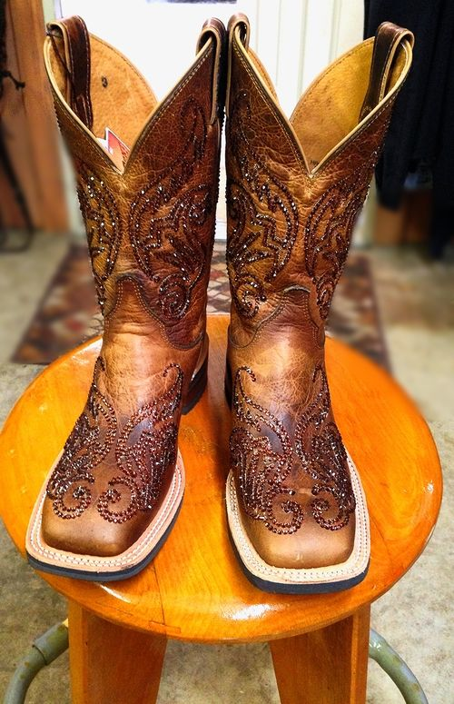 Rhinestone Cowgirl Boots Smoked Topaz Swarvoski crystals squared toed Justin Ropers
