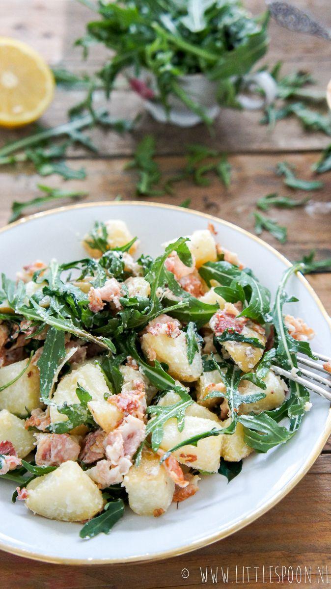 Aardappelsalade met spekjes en rucola - Little Spoon