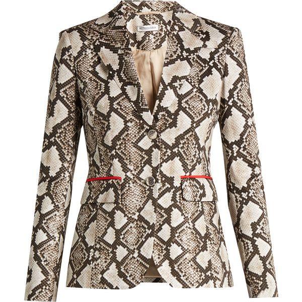 Altuzarra Fenice python-print cotton-blend blazer ($1,615) ❤ liked on Polyvore featuring outerwear, jackets, blazers, animals, slim fit jackets, blazer jacket, brown blazer jacket, slim blazer and snake print jacket