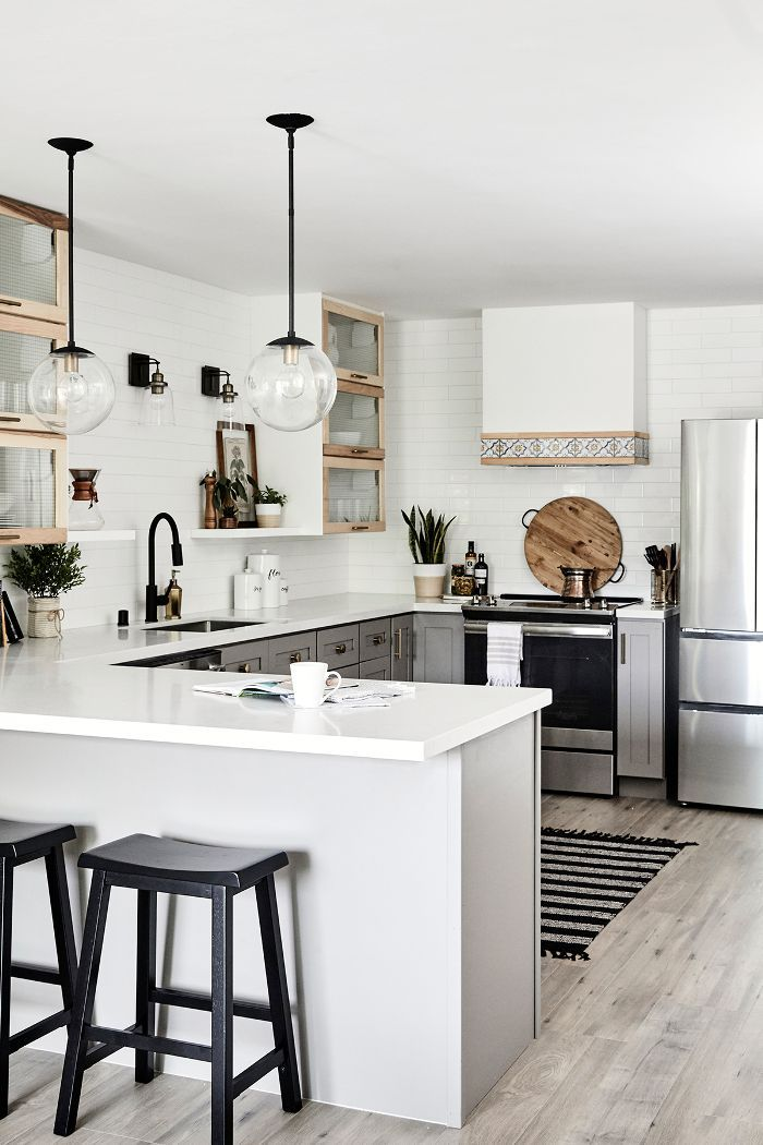 this chic one bedroom condo looks way bigger than 750 square feet condo kitchen modern on kitchen interior small space id=43653