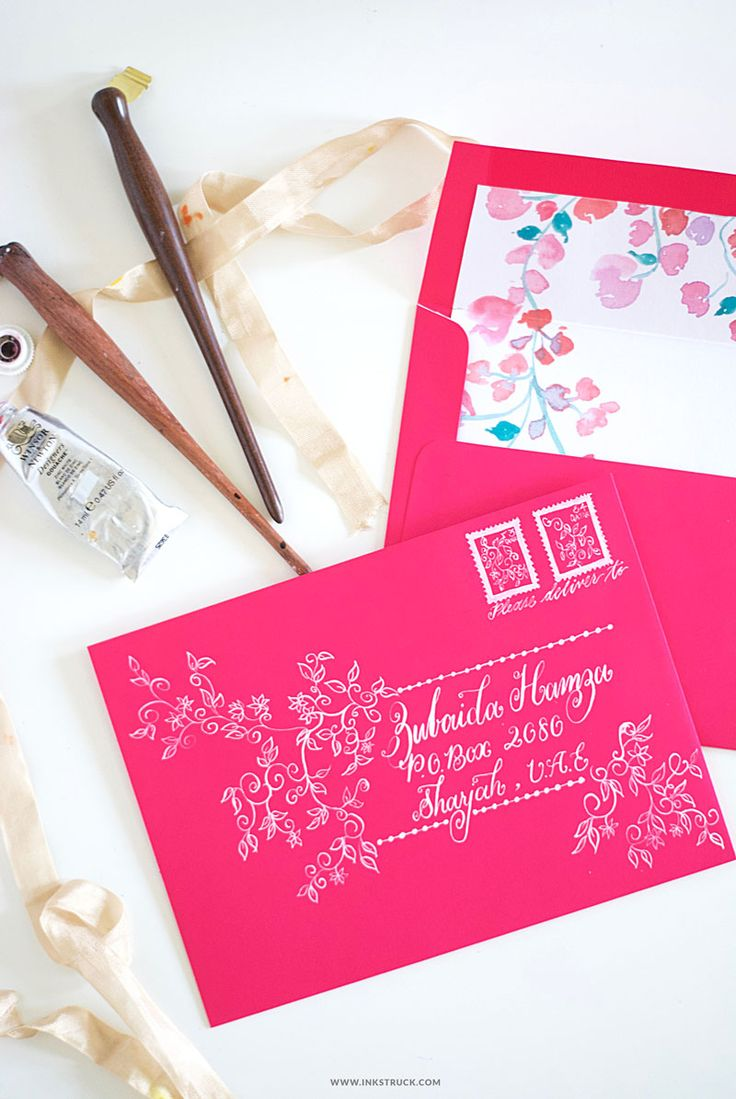 Snail Mail Swoon! Create beautiful DIY envelope art using white gouache on pretty colored envelopes and make your recipients the happiest.