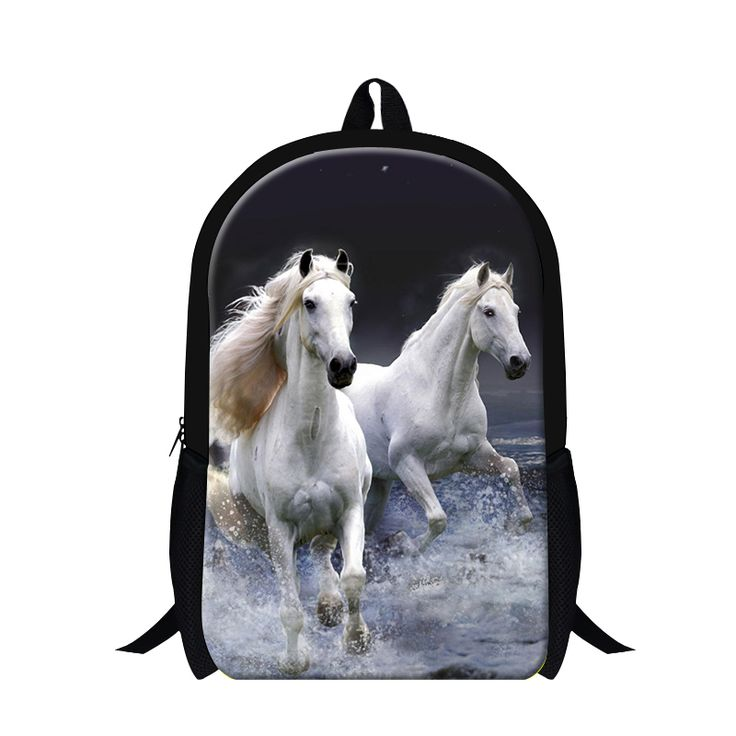 Cool white horse backpacks for youth men,lightweight school backpacking for boys,personalized back pack for teens children kids