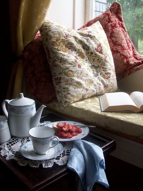 Tea, a good book .. comfy, stacked pillows, warm, cozy blanket and phone turned off..