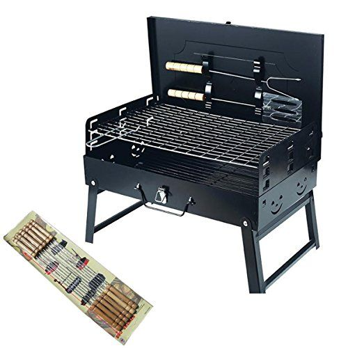 Adjustable Height Portable Charcoal BBQ Grill Folding Barbecue Outdoor Travel Picnic Camping Grill Racks and Tools With 10 Pcs Stainless Steel Barbecue Grill Skewers With Wooden Handles