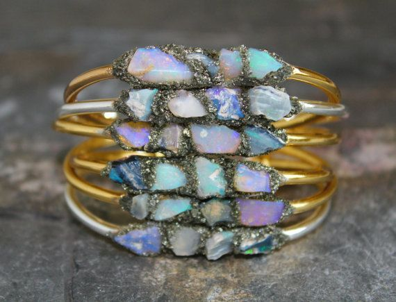 Raw Opal Jewelry - Opal Bracelets - Gemstone Gift Cuff - Silver Jewellery - Raw Gemstone Cuff - Semi Precious Stone Jewelry