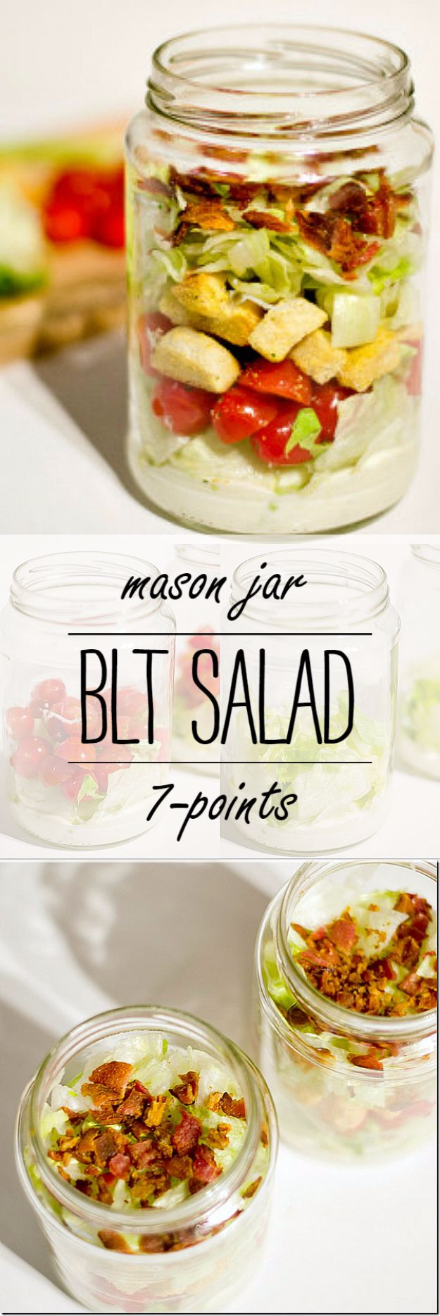 Best Recipes in A Jar - BLT Salad In A Jar - DIY Mason Jar Gifts, Cookie Recipes and Desserts, Canning Ideas, Overnight Oatmeal, How To Make Mason Jar Salad, Healthy Recipes and Printable Labels http://diyjoy.com/best-recipes-in-a-jar