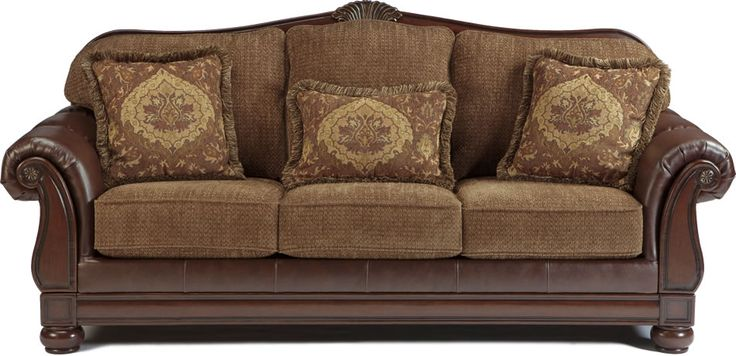 Two Tone Traditional Sofa with Wood Trim Accents  Living Room Ideas  Sofa Ashley furniture