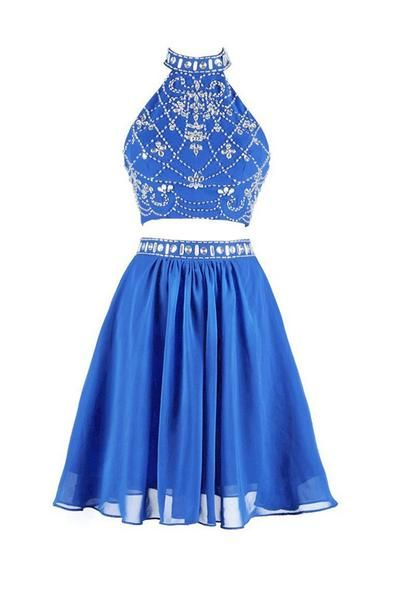 Elegant Prom Dress,Blue Two Piece Prom Dress,Beaded Tulle