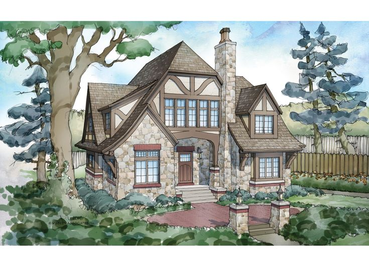 tudor house plan with 5824 square feet and 5 bedrooms from