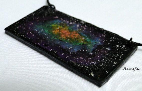 Galaxy Necklace  Rainbow Galaxy Watercolor Painting by Azurafae, $25.00