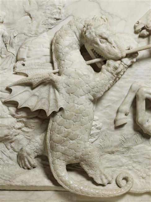 """""""Saint Georges combattant le dragon"""" de Michel Colombe. Paris, musée du Louvre - Photo (C) Musée du Louvre, Dist. RMN-Grand Palais / Thierry Ollivier"""
