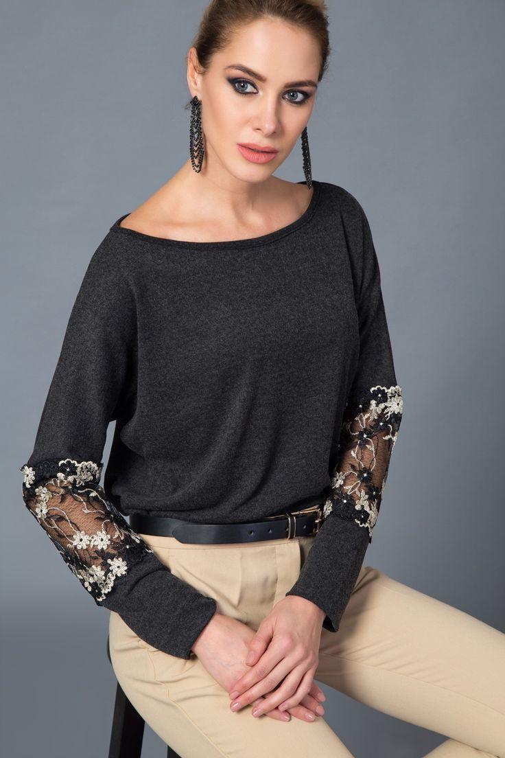 Kadın Siyah Kolu Güpür İşlemeli Bluz Happiness İst. | Trendyol
