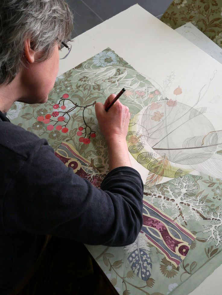 Angie Lewin working on a watercolour drawing