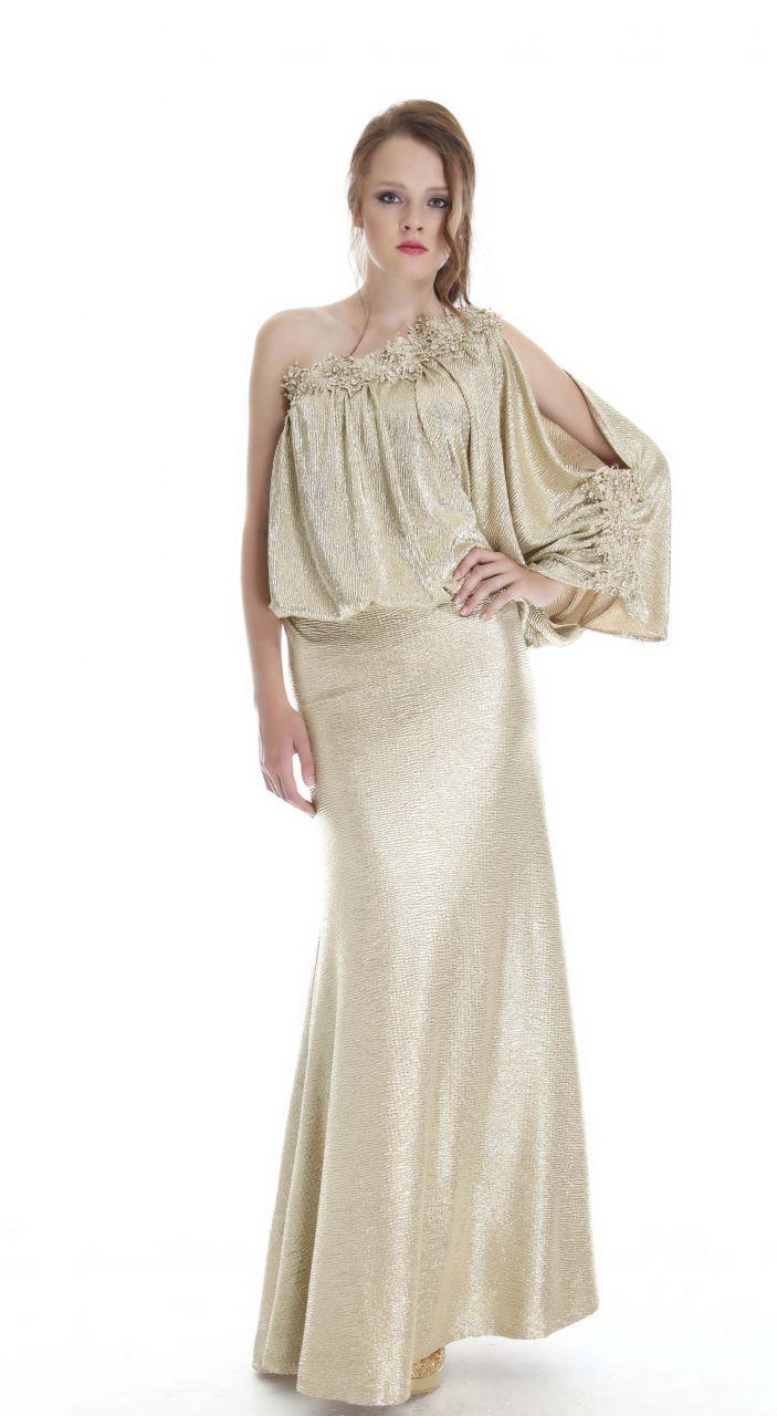 Gümüş renk uzun abiye elbise