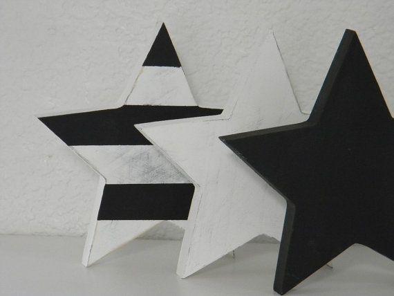 Wooden black and white stars