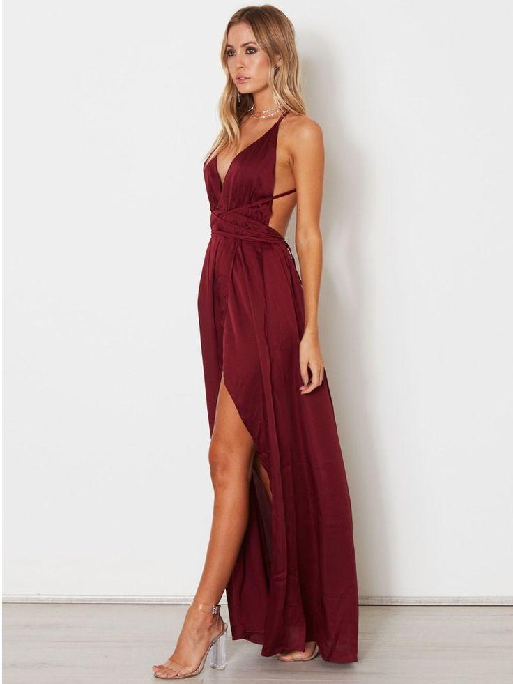 2018 A-line Spaghetti Straps Prom Dresses Custom Burgundy Long Prom Dresses Evening Dress AMY1149 13
