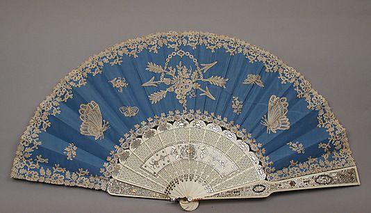 1870 Fan A. Rodien Culture: French Medium: silk taffeta, bobin lace, ivory, steel, mother-of-pearl