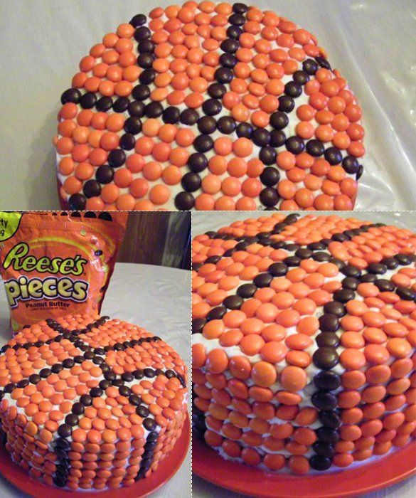 Basketball Cake ~ White frosting, a big bag of Reese's Pieces and a nice round cake are all you need for this fun cake.  Randall would love this!