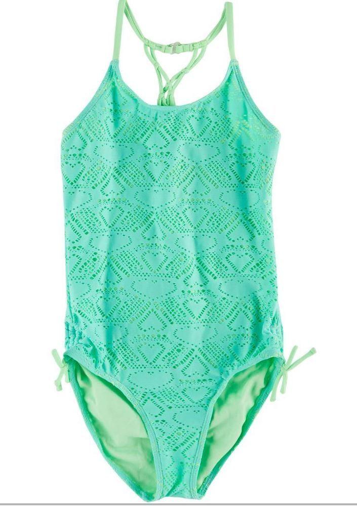6371857dee7f7 Heart Crochet One Piece Swimsuit Girls in Mint Green Angel Beach Size 14   AngelBeach  HalterkiniSwimsuitSet