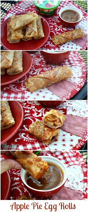 Easy Apple Pie Egg Rolls with a Caramel Dipping Sauce - Oh. my. yum!!! |  mommyskitchen.net