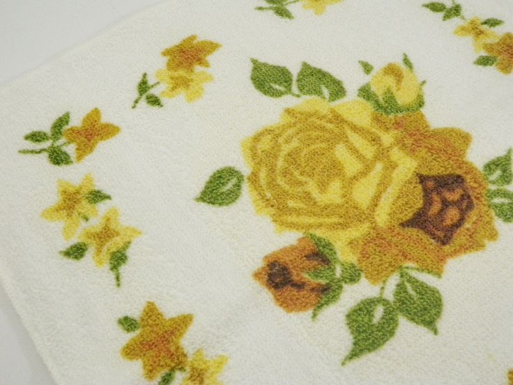 Gold Mustard Yellow Rose Washcloth Penneys Set of 2 Cotton Bath Wash Cloth NOS Mid Century by TraSheeWomen on Etsy #gold #mustard #rose #roses #vintage #washcloth #bath #linens #penneys #midcentury #bathroom