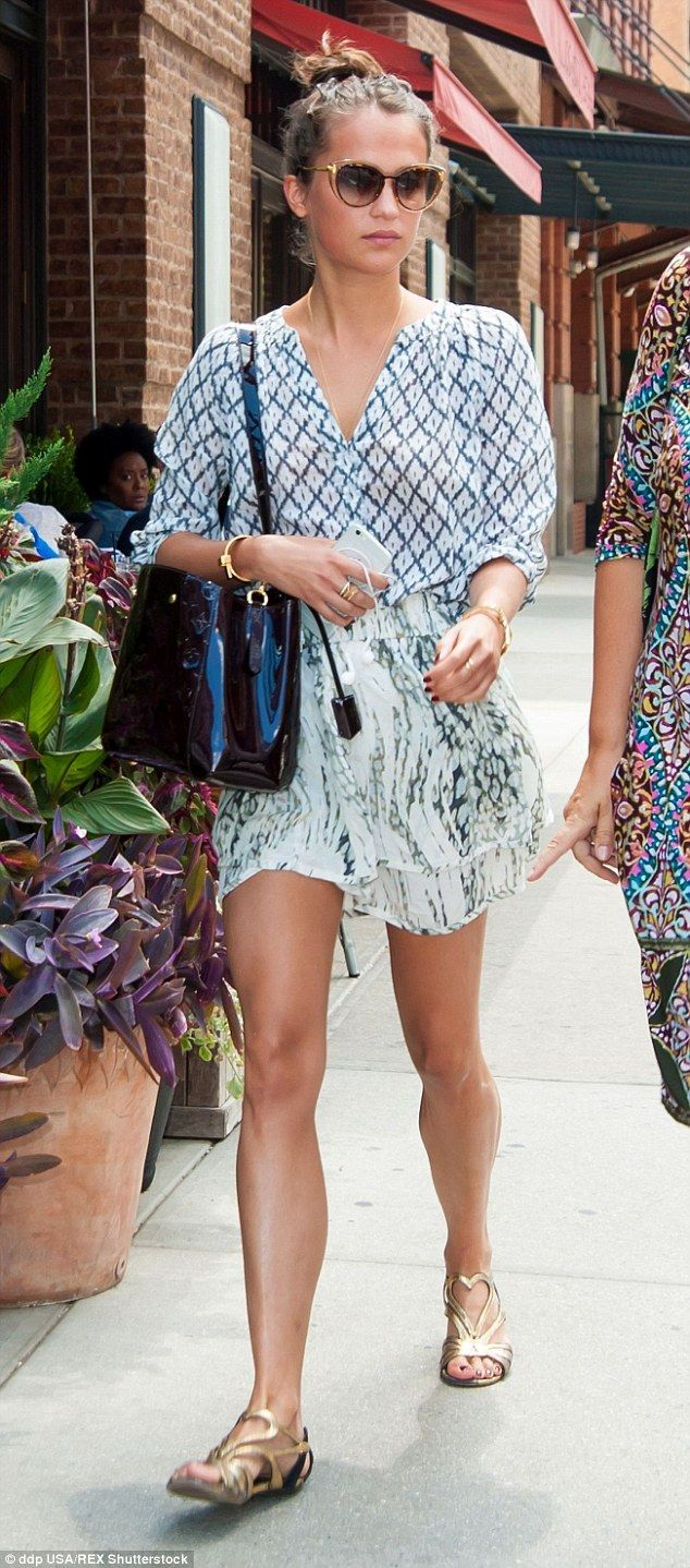 Pretty style: Alicia Vikander looked effortlessly sweet as she stepped out in New York on ...