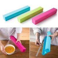 Wish | Plastic Kitchen Foil And Cling Film Wrap Dispenser Cutter Storage Holder 3 Color