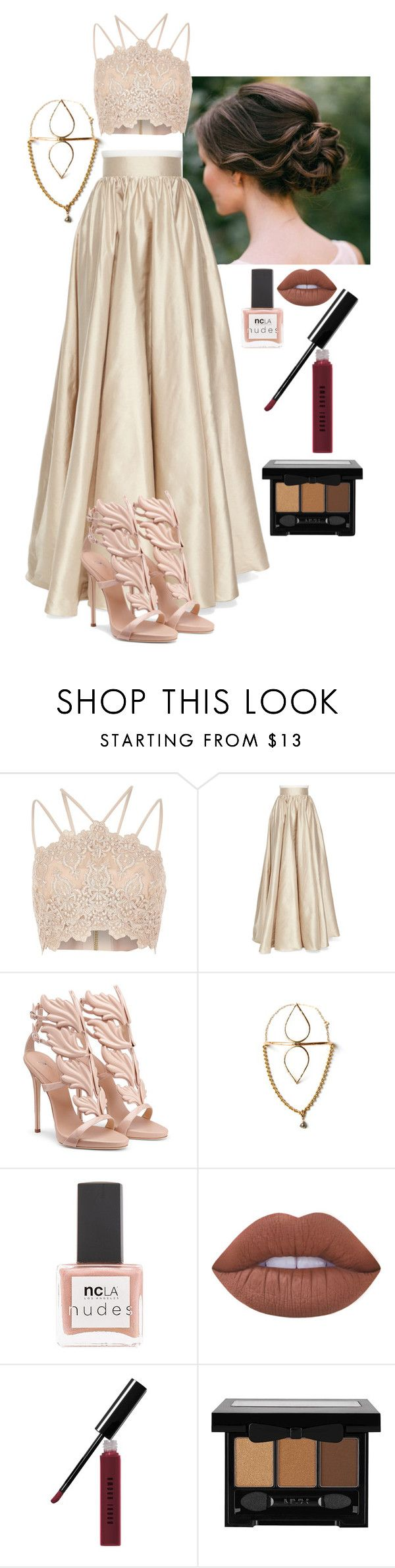 """nude"" by zulfaladygates on Polyvore featuring River Island, Jenny Packham, Forever 21, ncLA, Lime Crime, Bobbi Brown Cosmetics and NYX"