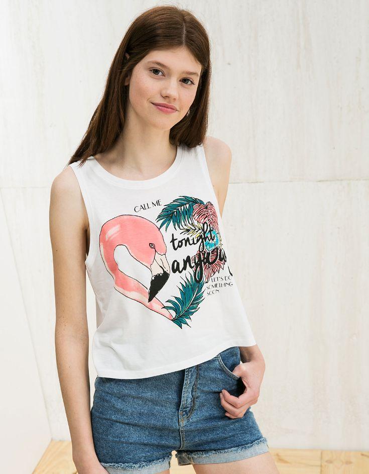 BSK sleeveless Flamingo/Watermelon top - CARRUSEL - Bershka Turkey