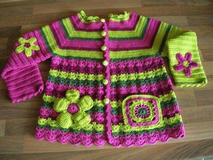 chaqueta niña crochet multicolor.