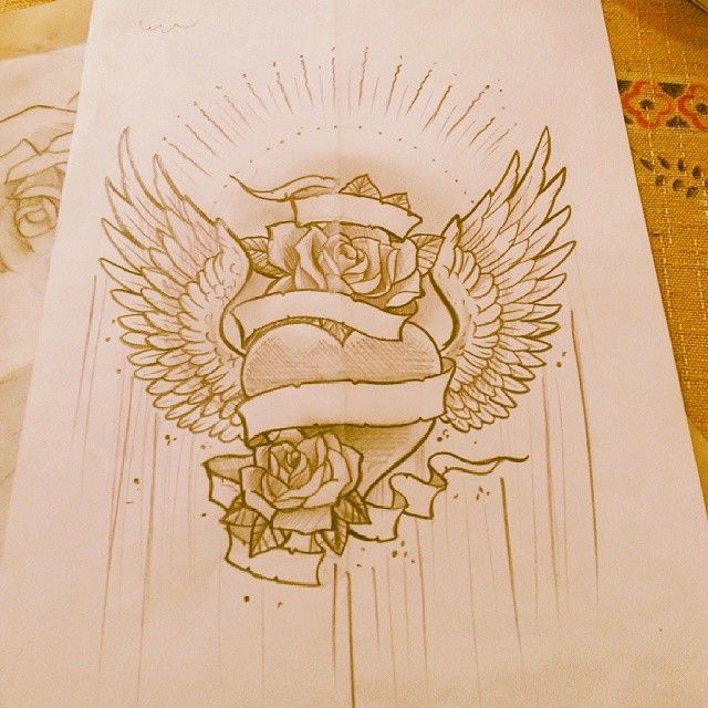 Winged heart with roses tattoo sketch draw